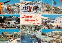 Cartolina Limone Piemonte 8 Vedute Seggiovia Sci Sciatori - Cuneo