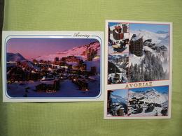 HAUTE SAVOIE. LOT DE 2 CPM AVORIAZ. 1995. VUE MULTIPLE ET VUE DE NUIT - Avoriaz