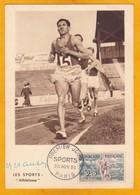 FRANCE 1953  ALAIN MIMOUN - Athlète Olympique - Signature Sur Carte Maximum Et 1er Jour Avec Photo De L'Equipe - Autographes