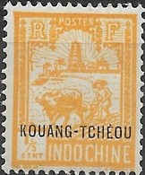 KOUANG TCHEOU 1927 Ploughman & Tower Of Confuscius - 1/5 C - Yellow MH - Unused Stamps