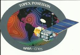 Autocollant Satellite TOPEX-POSEIDON - CNES-NASA - Lancement ARIANE V52 Du 10 Août 1992 - ESPACE - Aufkleber