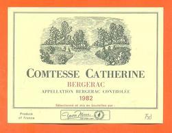 étiquette De Vin De Bergerac Comtesse Catherine 1982 Yvon Mau à Romagne - 75 Cl - Bergerac