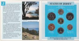 CARTERA OFICIAL DE LA ISLA DE JERSEY CON 7 MONEDAS DEL AÑO 1987 EN SU ESTUCHE ORIGINAL (COIN) - Jersey