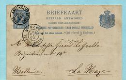 Briefkaart Betaald Antwoord, Afst. ANVERS (STATION) 22/01/1896 Naar 'S GRAVENHAGE 22/01/1896 - Ganzsachen