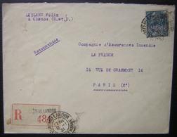 Chenou (Seine Et Marne) Recommaandé De Leblanc Félix, Posté à Château-Landon, Pour Paris - 1921-1960: Modern Period