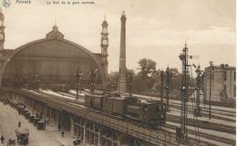 Entrée De La Gare De Anvers Central Avec Locomotives Vapeur. - Gares - Avec Trains
