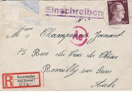PRISONNIER DE GUERRE 40 45 STALAG  LAGER HASENFECKE VERS ROMILLY CENSURE MANUELLE AE - Militaria