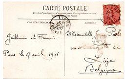 CV Expédiée De Paris (F) Vers Liège - Timbre Semeuse Oblitéré à L'arrivée à Liège (1906) - Marcophilie