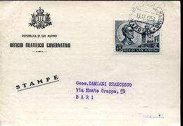 40752 San Marino Circuled Card 1959 With Stamp Abraham Lincoln - Celebrità