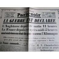 Fac Similé : Paris Soir Du 04/09/1939 : La Guerre Est Déclarée (1 Feuillet) - Journaux - Quotidiens