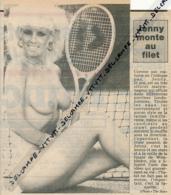 PHOTO, PIN-UP : Jenny, Tennis, Wimbledon, Maitre-Nageur, Coupure Journal (1986) Femme Nue - Pin-Up
