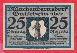 Allemagne 1 Notgeld De 25 Pfenning Stadt Münchenbernsdorf UNC  N °2230 - [ 3] 1918-1933 : République De Weimar