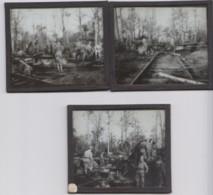LOT DE 4 PLAQUES DE VERRE  -MILITARIA- GUERRE 14/18   MISE EN BATTERIE  (lot Pat 28) - 1914-18