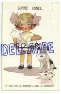 """Bonne Année. Petite Fille Blonde, Petit Chien. Tas De Lettres. """"Je Veux être La Première à Vous La Souhaiter. 1930 - Nouvel An"""