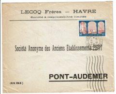 1930 - Lettre Du Havre Pour Pont Audemer - Oblitération Machine International Sur Tp Centenaire Algérie N° 263 - 1921-1960: Periodo Moderno