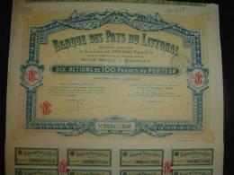 """Action """" Banque Des Pays Du Littoral """" Bordeaux  1928. - Banque & Assurance"""
