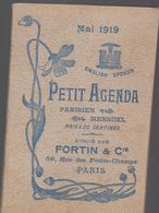 B41 Petit Agenda Parisien Mai1919 Des Ets.  FORTIN & CIE à Paris 1er-59 Rue Des Petits Champsplan Du Métropolitain Etc.. - Advertising
