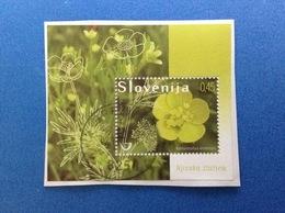 2009 SLOVENIA SLOVENIJA FOGLIETTO USATO SHEET USED 0,45 RANUNCULUS ARVENSIS PIANTA FIORE - Slovenia