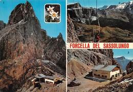 Cartolina Forcella Del Sassolungo 3 Vedute Telecabina Rifugio Toni Deletz - Trento