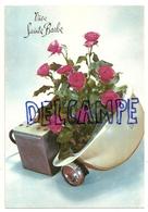 Vive Sainte Barbe. Casque Blanc, Roses Roses, Pile Et Lampe. Photochrom Glacée 50799 - Mijnen