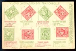 Nuovo Linguaggio Dei Francobolli / Long Line Circulated Postcard, 2 Scans - Timbres (représentations)