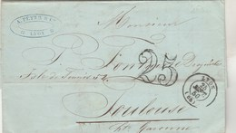 Lettre LYON Rhône 25/9/1850 Taxe Double Trait 25  Pour Fontaine Toulouse Haute Garonne - 1849-1876: Période Classique