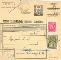 30865. Tarjeta Envio Dinero, Parcel Post DUNAKESZI (Hungria) 1940 To Egeg - Hungría