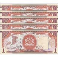 TWN - TRINIDAD & TOBAGO 46Aa - 1 Dollar 2006 (2014) DEALERS LOT X 5 - Prefix PQ - Signature: Rambarran UNC - Trinidad & Tobago