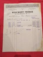 1919 MANUFACTURE DE CHEMISES - BEAUMONT FRÈRES - USINES  ELBEUF ET AUBIGNY - Textile & Vestimentaire