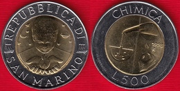 "San Marino 500 Lire 1998 Km#383 ""Chimica"" BiMetallic UNC - Saint-Marin"