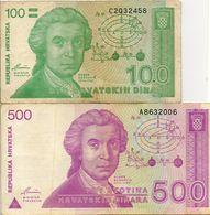 1991  CROAZIA  DINARA  6   BANCONOTE  HRVATSKIH - Croazia