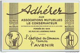 Buvard - Adhérer Aux Associations Mutuelles Le Conservateur -  L'epargne En Commun Assure L'avenir - Banque & Assurance
