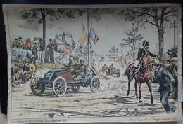 Automobile - Renault - Dessin: LOUIS RENAULT Dans La Course Paris-Madrid En 1903 - Cartes Postales