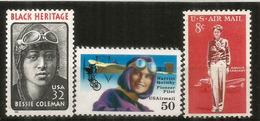 USA.Femmes Aviateurs Célèbres: Amelia Earhart,Harriet Quimby,Bessie Coleman.  3 Timbres Neufs ** - Femmes Célèbres