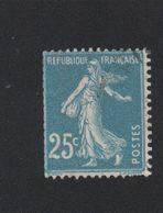 Timbre De France N° 140k Le 25 C Au Type Roulette Oblitéré - 1906-38 Semeuse Con Cameo