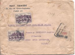 ANGERS N° 500 LETTRE CHARGE PARIS 49 Valeur Déclarée 25 000F 1942 - France