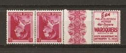 Belgique - Léopold III Col Ouvert - Publicité Waroquiers - Néerlandais - Paire MH PU 169 - Publicités