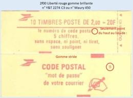 FRANCE - Carnet Conf. 9, Gomme Striée - 2f00 Liberté Rouge - YT 2274 C3 / Maury 450 - Carnets