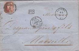 LETTRE BELGIQUE - MEDAILLON 40c 4 ANVERS - L. LOUPART  9.1.1864 POUR MARSEILLE - PD - ENTREE BELG. AMB. CALAIS K / R11 - 1849-1876: Période Classique