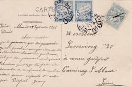 Paire Taxe Banderole 5c En Complément Type Blanc Sur Carte Postale De Saint-Denis - Marcophilie (Lettres)