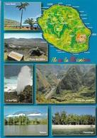 Cartes Géographiques - La Réunion - 6 Vues - 1 Timbre Philatélique Au Verso, Voir Scan - Cpm - écrite - - Cartes Géographiques
