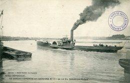 LE VAPEUR '' GIRONDE Et GARONNE  N° 3 '' De La Cie BORDEAUX OCEAN - - Bateaux
