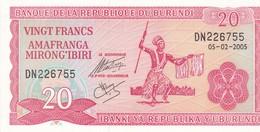 BURUNDI 20 FRANCS 2005 / NEUF - Burundi