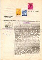 Papel De Certificado De Defuncion Valencia  Con Fiscales. - España