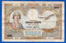 Yougoslavie  1000 Dinars  1931  Dans  L'etat - Yugoslavia