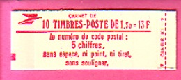 CARNET TYPE SABINE 10 TP à 1.30 N° 2059-C2a  C 2A CARNET FERME GOMME MATE  CONF 7 - NEUF LUXE -  FORTE REMISE - Carnets