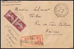 4633 Semeuse 20c Brun Lettre Recommandé Cover France Guerre War 1914/1918 Secteur N°182 Hussards 1917 - Marcofilia (sobres)