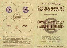 CI Professionnelle Comité D'organisation Prof. Industrie Hôtellière  1941.1942 (53.52) - Altre Collezioni