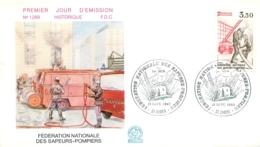 ENVELOPPE FDC PREMIER JOUR D'EMISSION 1982 FEDERATION NATIONALE DES SAPEURS POMPIERS - FDC