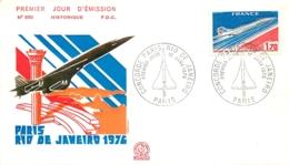 ENVELOPPE FDC PREMIER JOUR D'EMISSION 1976  PARIS RIO DE JANEIRO LE CONCORDE - FDC